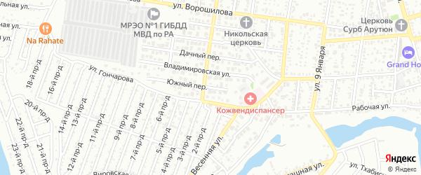Южный переулок на карте Майкопа с номерами домов