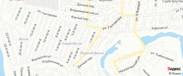 1-й проезд на карте садового некоммерческого товарищества Восхода с номерами домов