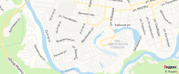 Карта садового некоммерческого товарищества Верхней Весны города Майкопа в Адыгее с улицами и номерами домов