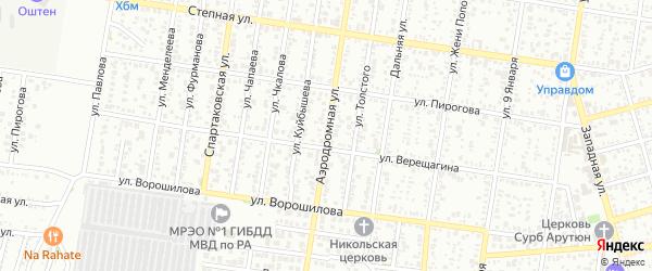 Аэродромная улица на карте Майкопа с номерами домов