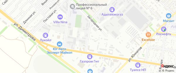 Коммунальный переулок на карте Майкопа с номерами домов