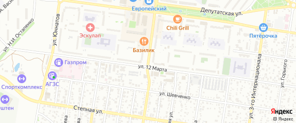 Улица Чкалова на карте Майкопа с номерами домов
