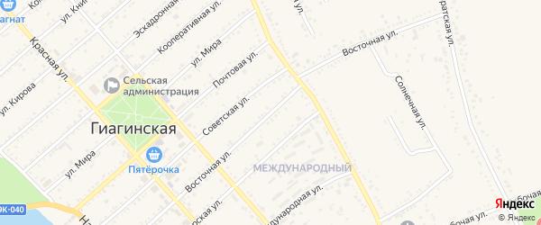 Восточная улица на карте Гиагинской станицы с номерами домов
