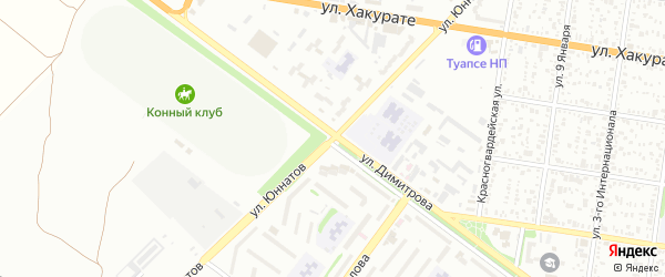 Улица Юннатов на карте Майкопа с номерами домов