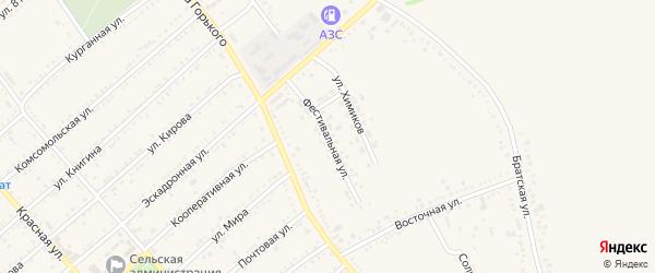 Фестивальная улица на карте Гиагинской станицы с номерами домов