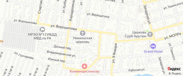 Переулок Новоселов на карте Майкопа с номерами домов
