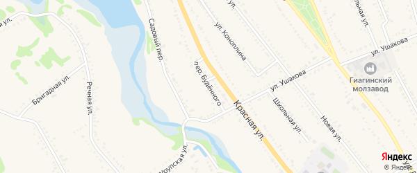 Переулок Буденного на карте Гиагинской станицы с номерами домов