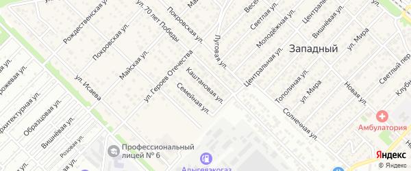 Каштановая улица на карте Западного поселка с номерами домов