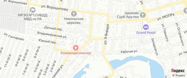 Улица Гончарова на карте Майкопа с номерами домов