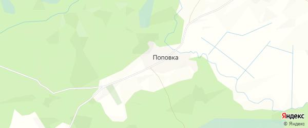 Карта деревни Поповки в Архангельской области с улицами и номерами домов