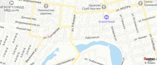 Рабочий переулок на карте Майкопа с номерами домов