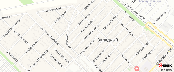 Молодежная улица на карте Западного поселка с номерами домов
