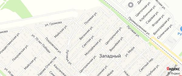 Светлая улица на карте Западного поселка с номерами домов