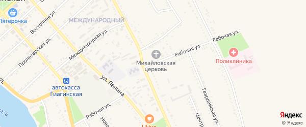 Рабочая улица на карте Гиагинской станицы с номерами домов