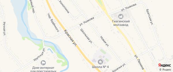 Школьная улица на карте Гиагинской станицы с номерами домов