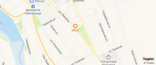 Улица Ленина на карте Гиагинской станицы с номерами домов