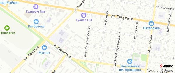 Красногвардейская улица на карте Майкопа с номерами домов