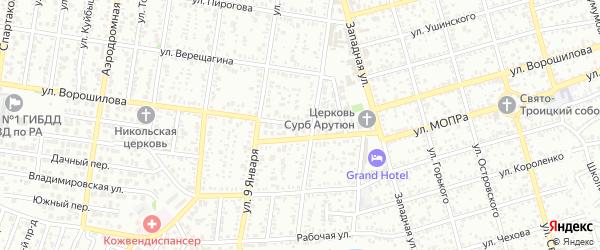 Улица Ворошилова на карте Майкопа с номерами домов