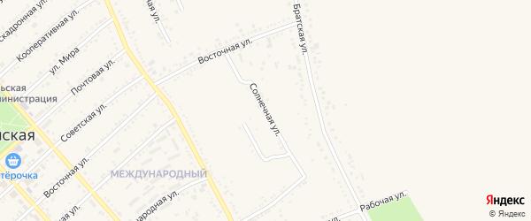 Солнечная улица на карте Гиагинской станицы с номерами домов