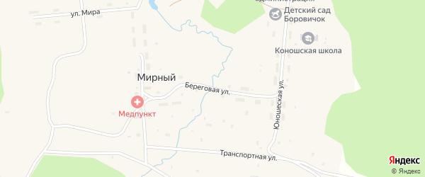 Береговая улица на карте Мирного поселка с номерами домов