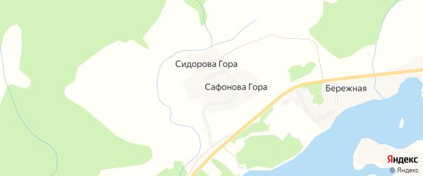 Карта деревни Сафоновой Гора в Архангельской области с улицами и номерами домов