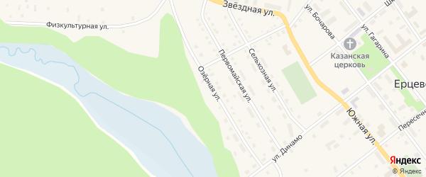 Озерная улица на карте поселка Ерцево с номерами домов