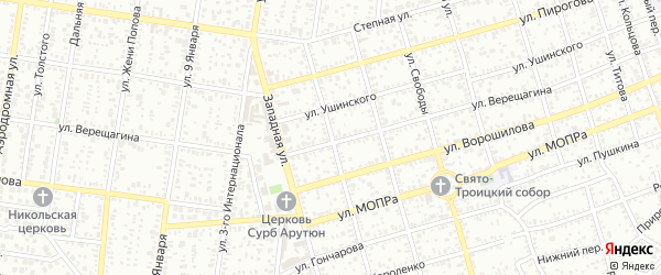 Улица Горького на карте Майкопа с номерами домов