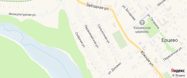Первомайская улица на карте поселка Ерцево с номерами домов