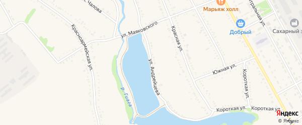 Улица Андрейцева на карте Гиагинской станицы с номерами домов