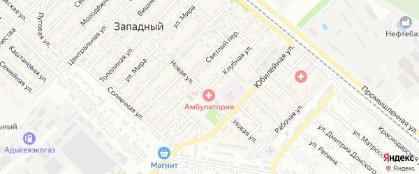 Клубная улица на карте Западного поселка с номерами домов