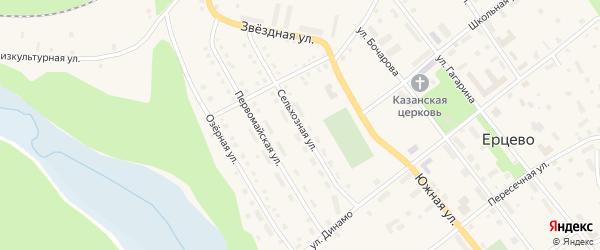 Сельхозная улица на карте поселка Ерцево с номерами домов