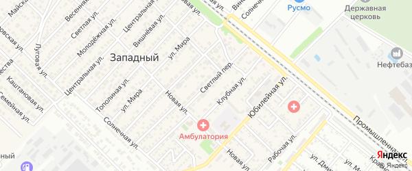 Светлый переулок на карте Западного поселка с номерами домов