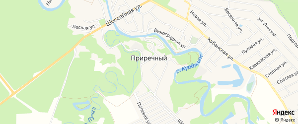 Карта Приречного поселка в Адыгее с улицами и номерами домов