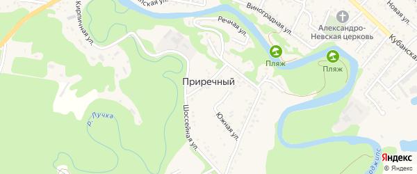 Зеленая улица на карте садового некоммерческого товарищества Приречного с номерами домов