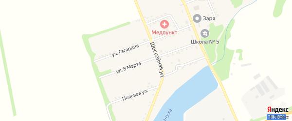 Улица 8 Марта на карте поселка Зарево с номерами домов