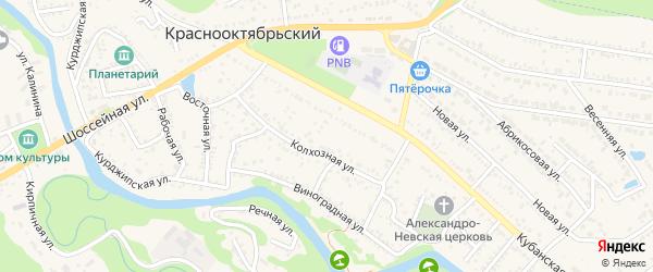 Дорога А/Д Краснооктябрьский-Курджипская-Дагест на карте Краснооктябрьского поселка с номерами домов