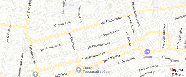 Улица Ушинского на карте Майкопа с номерами домов