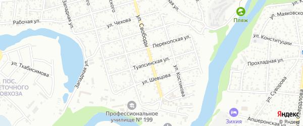 Туапсинская улица на карте Майкопа с номерами домов