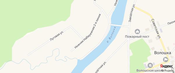 Улица Нижняя Набережная 2 линия на карте поселка Волошки с номерами домов