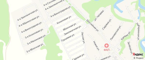 Земляничная улица на карте садового некоммерческого товарищества Радуги с номерами домов