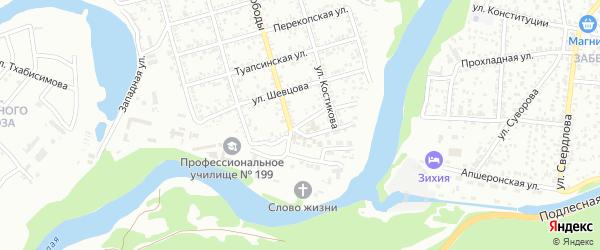 Кожевенная улица на карте Майкопа с номерами домов
