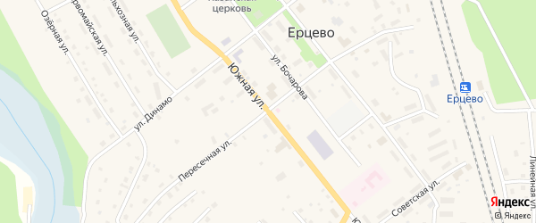 Южная улица на карте поселка Ерцево с номерами домов