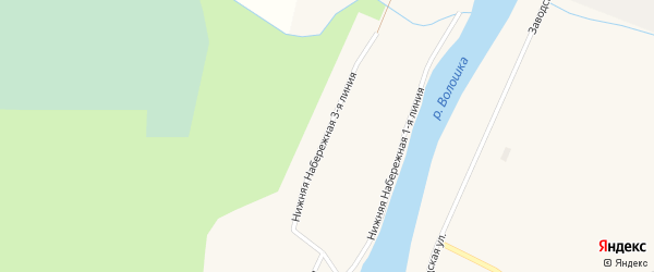 Улица Нижняя Набережная 3 линия на карте поселка Волошки с номерами домов
