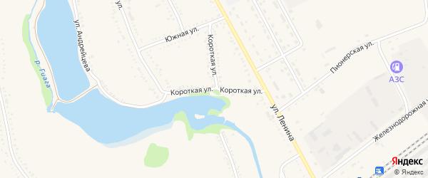 Короткая улица на карте Гиагинской станицы с номерами домов
