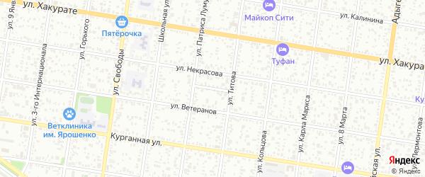 Кавказский переулок на карте Майкопа с номерами домов