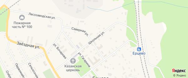 Школьная улица на карте поселка Ерцево с номерами домов