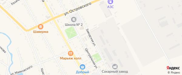 Заводская улица на карте Гиагинской станицы с номерами домов