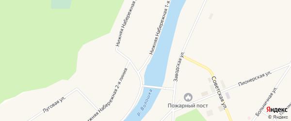 Улица Нижняя Набережная 1 линия на карте поселка Волошки с номерами домов