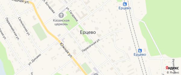Улица Гагарина на карте поселка Ерцево с номерами домов