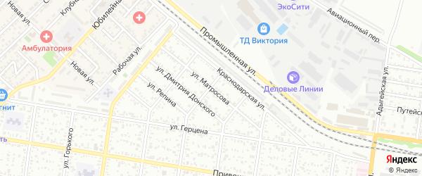 Улица Матросова на карте Майкопа с номерами домов